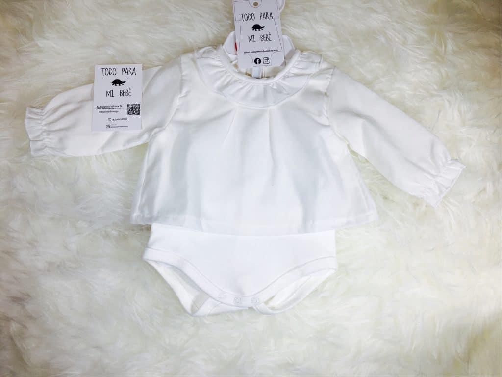 3aaf6f229 Body 2 piezas M Larga Camisa cuello volante Color Crudo Blanco