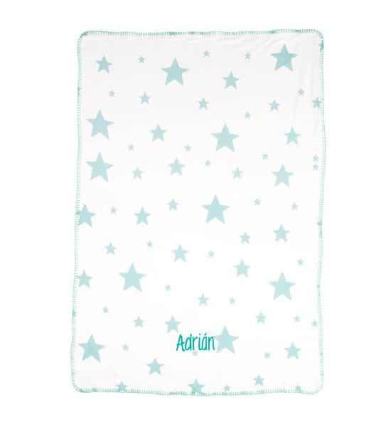 Manta Personalizada Estrellas Mint con Nombre para bebés
