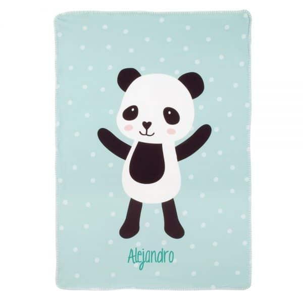 Manta Personalizada Panda con el Nombre para bebés