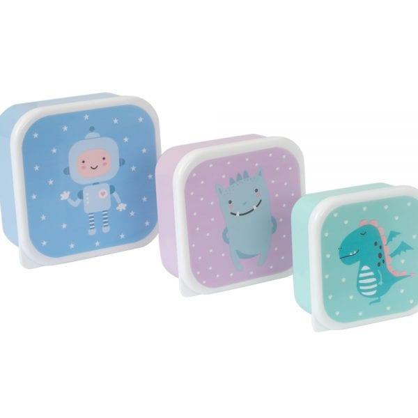 taper Pack 3 Cajas Almuerzo Robot y Amigos