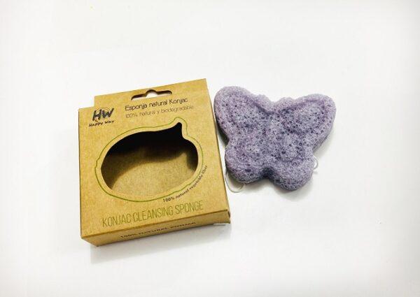 Esponja natural Happy Way de Konjac con forma de mariposa violeta