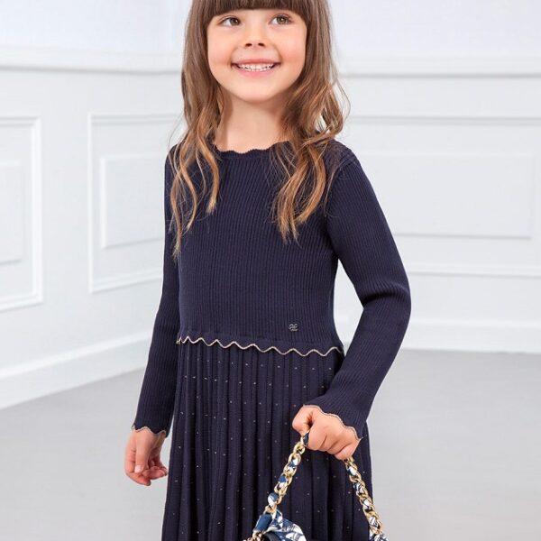 Vestido tricot Lurex marino